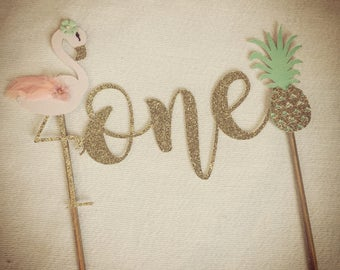 Flamingo and Pineapple Cake Topper. First Birthday Cake Topper, Boho Cake Topper. One Birthday
