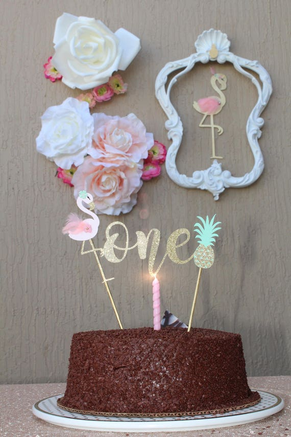 The Original Flamingo and Pineapple Cake Topper First