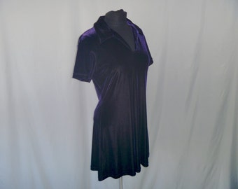 Vintage 80'sPurple Velvet Tennis Dress Jumper with Short Sleeves and Polo Collar by Jump Size 11/12