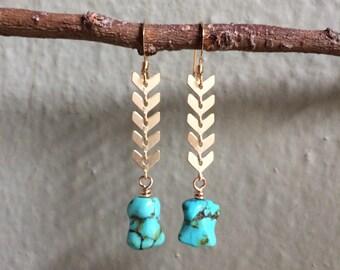 Turquoise stone Earrings semi precious stone gold tone earrings Chevron earrings OOAK earrings
