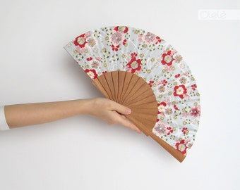 Japanese clouds and sakura flowers | White and red hand fan | Spring home decor | housewarming gift | summer yukata resort decoration