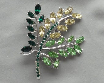 Sale - Vintage DODDS Multi-Color Green/Citrine Yellow Rhinestone Large Leaf Pin