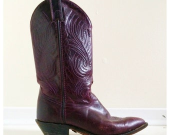 Womens Purple Tooled Cowboy Boots- 7.5, 8, Vintage Boho Cowgirl, Hippie Festival