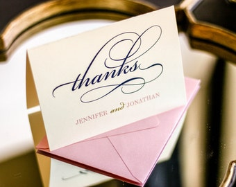 """Classic Thank You Cards, Elegant Wedding Thank Yous, Formal, Blush Pink and Navy Blue - """"Classic Elegance"""" Folded Thank You Card - DEPOSIT"""