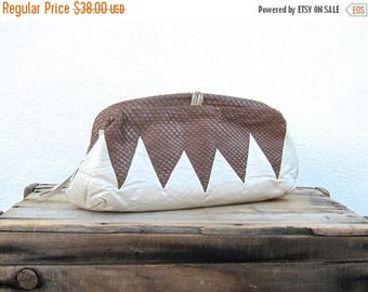 15% Off Out of Town Sale SALE Vintage Brown Chevron Snakeskin and Pearlescent Cream Leather Large Clutch