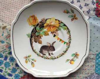 Juno Bunny with Bunting and Yellow Roses Illustrated Vintage Plate