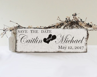 Save The Date Custom Engagement Sign, Engagement Prop, Save the Date Wedding Sign, Vintage Style Save The Date Sign