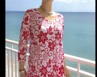 CORAL Spring Tunic Medium Large XL 2X