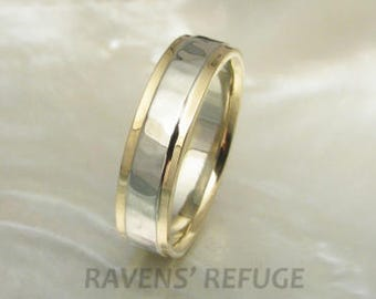 5mm two tone hammered wedding band in 14k gold with stepped edges -- mens wedding ring