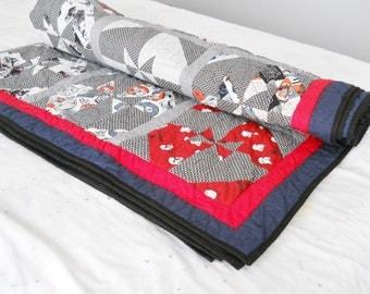 Star Wars Twin Quilt Bed Quilt Bedding Orange Blue Black Red Quilt Teen Quilt Child Quilt Rey Storm Trooper Darth Vader Battle Ships