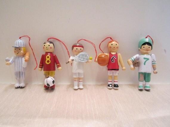 Basketball Baseball Tennis Football and Soccer Player Wood Ornaments - Christmas Tree Ornament Ball Players - Vintage Handpainted