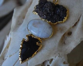 MAGIC POTION NECKLACE /// Electroformed Gemstone Statement Necklace