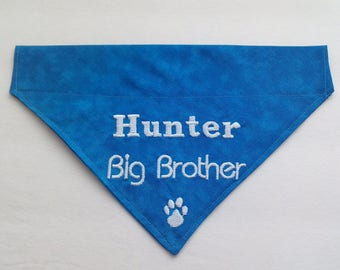 Big Brother Personalized Embroidered Slide On Dog Bandana ** Choose you Color **