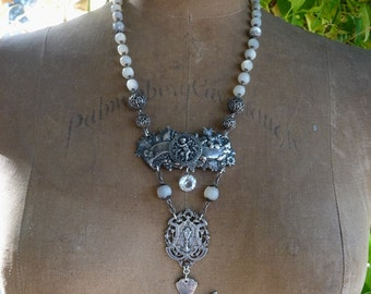 SOLD LISTING: Antique Dove Cherub Communion Rosary Necklace,  The Dove Keeper, by RusticGypsyCreations