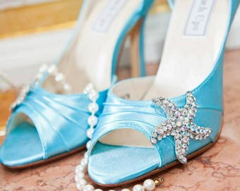 Wedding Shoes - Mermaid Wedding Shoe - 3.5 Inch Heels - Starfish - Bows And Crystals - Choose Your Heel Height - Choose From Over 100 Colors