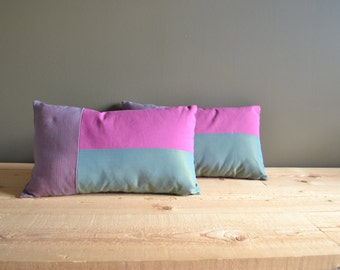 modern cushion covers in teal magenta and grey - lumbar pillows - set of 2x teal magenta 12x20 lumbar pillows - modern housewarming gift