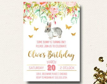 Some Bunny Birthday Invitation | Easter Birthday | Spring Girls Invitation | Floral Pink and Gold