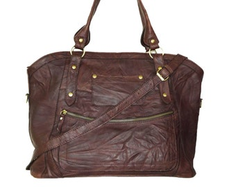 Distressed Leather Tote Leather Tete Bag Leather Cross-body Bag Leather Tote Bag Laptop Bag, Large Leather Tote, Leather Handbag, Magui XXL