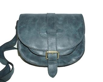 Leather saddle bag, Leather Messenger, Leather Crossbody Bag, Cross-body bag, Leather purse, Leather Cross-body, Goldmann S - teal blue