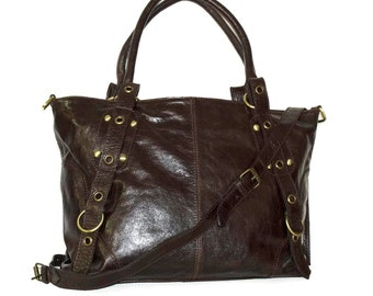 Distressed Dark Brown Leather Tote Leather Bag Leather Handbag Leather Crossbody Bag Leather Market Bag Purse Laptop Bag Nora - 15in laptop