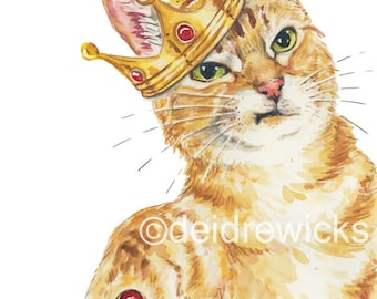 Cat Watercolour - 8x10 Cat Print, Royal Cat, Orange Tabby, Animal Art, Nursery Painting, Watercolour Painting