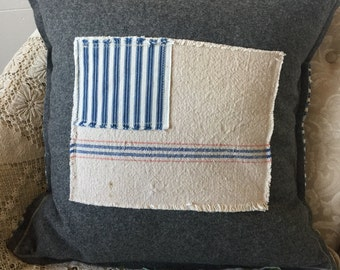 Pillow Cover Vintage Army Blanket and Grain Sack Flag II by Gathered Comforts
