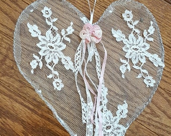 Shabby Tattered Lace Heart Lace and Wire Heart White Pink Valentine
