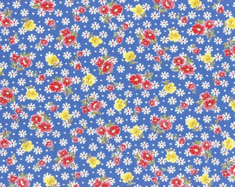 Flower toss on royal blue from the Old New 30's Spring 2017 collection by Lecien - 31524L-71