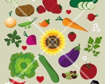 Instant Download. 20 Clip Art Files. Original Illustrations of Whimsical Fruits and Vegetables.