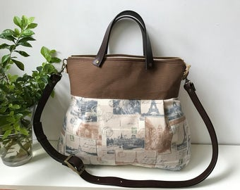 2 way Cross Body Bag / Messenger Bag / Diaper bag / Handbag/ Leather straps /Women messenger / Travel bag with leather strap -Ready to ship