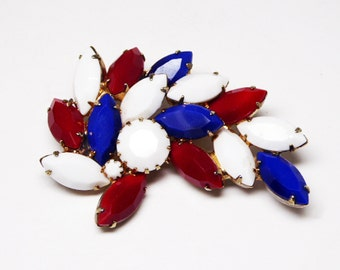 Red White & Blue Brooch - Patriotic Jewelry - Marquis and Chatons - Fourth of July - Memorial Day - D Day - Flag Day - Vintage 1950s Politic