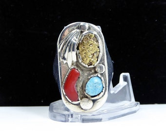 Huge Southwestern Sterling Silver Ring - w/ Gold Nugget, Turquoise & Coral - Substantial Weight Mens Size 12 - Vintage 1960s 1970s