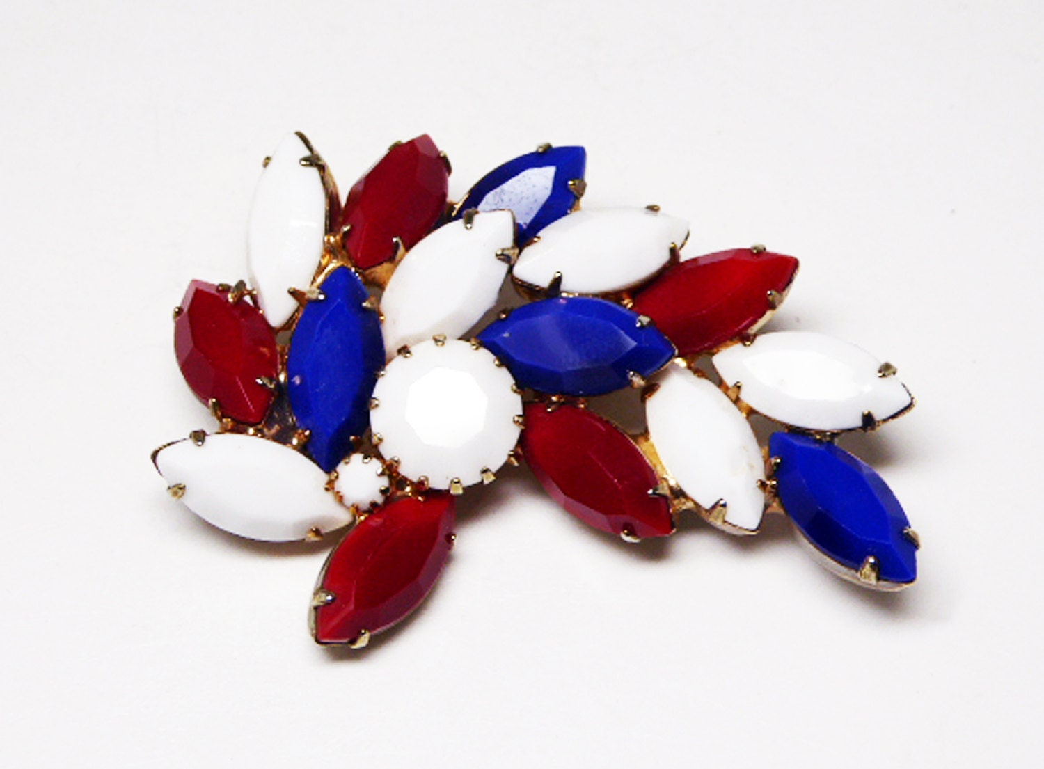 white blue brooch patriotic jewelry marquis and