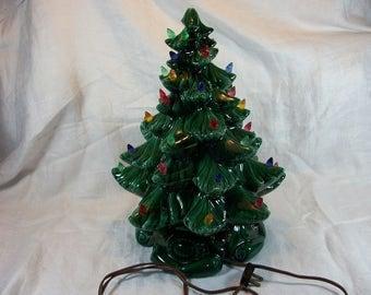 "Vintage 15"" High Atlantic Mold Lighted Ceramic Christmas Tree with Music Box Plays Silent Night"