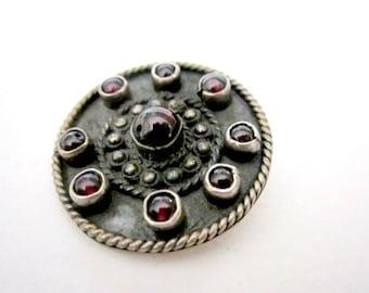 """Vintage Alejandro Toussier Sterling Silver Pendant Garnet Gemstone 1 1/8"""" Round Natural Patina Designer Vintage Jewelry Signed"""