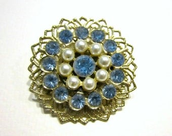 Vintage Blue Rhinestone Brooch Pearl Pin Vintage Rhinestone Jewelry Wedding Bridal Jewelry Under 10 Gift Idea