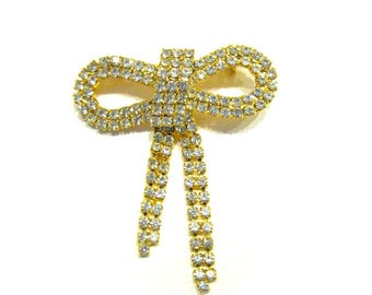 Vintage Rhinestone Bow Pin Dangling Bow Brooch Clear Rhinestone Jewelry Gift for Her for Mom Under 10 Jewelry Gift Idea