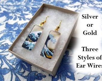 Great Wave earrings, Hokusai earrings, small glass earrings, classic art earrings, Great Wave off Kanagawa