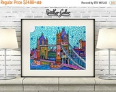 50% Off Today- London UK Tower Bridge Art Print Poster of Painting Skyline City (Hg3130)