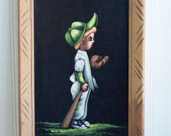 Vintage Velvet Painting, Little Boy Baseball Player, Retro Sports Bedroom, 1970's 70s Mexico Framed Art