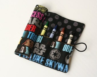 Crayon Caddy Roll Up - May the Force Be With You (8 Crayons Included) - Ready to Ship!