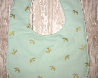 Baby Bibs- Mint and Gold Bird Bib, Baby boy bib, Baby girl bib, Minky Bib, Girl baby bib, boy baby bib