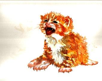 "Art Original Watercolor Animals Pets  ""Red CAT "" Kitty"""