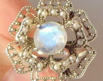 Rainbow Moonstone Ring, 925 Sterling Silver Ring, Seed Pearls, Large Rose, Edwardian Fantasy, Victorian Style, Genuine Gemstone Ring, OOAK