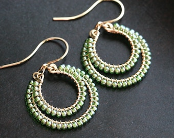 Spring green seed bead earrings, wire wrapped drop hoops, 14k gold filled, beaded, Toho, dangle, boho, Mimi Michele Jewelry