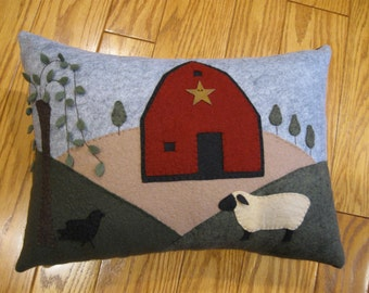 Primitive Wool Applique Pillow....Folk Art Sheep, Barn and Willow Tree