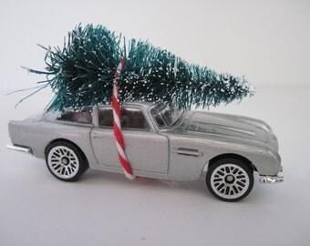 1963 ASTON MARTIN - James Bond 007 Skyfall - Silver - Hot Wheels - CHRISTMAS Ornament, Christmas Village - Christmas Tree Tied to Top