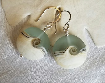 SeaScapes Earrings ~ Ocean Wave - Nantucket - Beach Glass - Handmade USA ~ Lampwork Glass