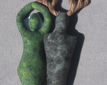 Plush Goddess and Horned God Pair - Spirit Dolls
