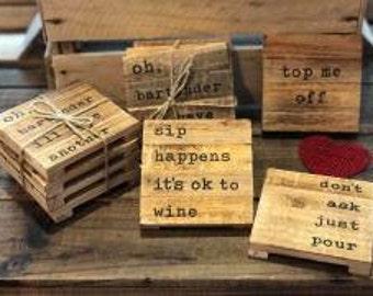 Wood Planked Coaster Set by Mudpie®, Pallet Coasters